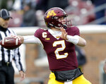 Minnesota quarterback Tanner Morgan drops back to pass against Purdue in the first quarter of an NCAA college football game Saturday, Nov. 10, 2018, in Minneapolis. (AP Photo/Andy Clayton-King)