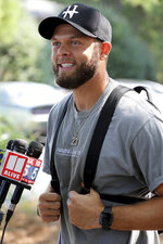 Atlanta Falcons safety Erik Harris takes questions from the media after arriving for NFL football training camp in Flowery Branch, Ga., Tuesday, July 27, 2021. (Curtis Compton/Atlanta Journal-Constitution via AP)