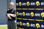 Iowa football coach Kirk Ferentz waits to speak at a news conference, Friday, June 12, 2020, in Iowa City, Iowa. The Iowa football team took a big step toward improving its lines of communication in the week since the program was hit with allegations of systemic racism, Ferentz and three of his players said Friday. (AP Photo/Charlie Neibergall)