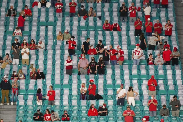 Fans watch before an NCAA College Football Playoff national championship game between Alabama and Ohio State, Monday, Jan. 11, 2021, in Miami Gardens, Fla. (AP Photo/Wilfredo Lee)