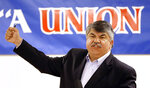FILE - In this May 18, 2015 file photo, National AFL-CIO President Richard Trumka speaks in Portland, Ore. The longtime president of the AFL-CIO labor union has died. News of Richard Trumka's death was announced Thursday by President Joe Biden and Senate Majority Leader Chuck Schumer. Trumka was 72 and had been AFL-CIO president since 2009, after serving as the organization's secretary-treasurer for 14 years. (AP Photo/Don Ryan)