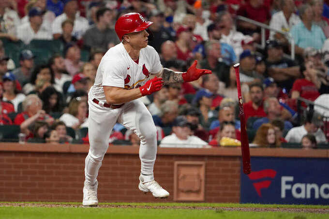 St. Louis Cardinals' Tyler O'Neill doubles during the third inning of a baseball game against the Los Angeles Dodgers Tuesday, Sept. 7, 2021, in St. Louis. (AP Photo/Jeff Roberson)