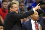 Kansas coach Bill Self makes a point during the first half of the team's NCAA college basketball game against TCU in Lawrence, Kan., Wednesday, March 4, 2020. Self won his 500th game at Kansas. Kansas won 75-66, and Self picked his 500th win at Kansas. (AP Photo/Orlin Wagner)