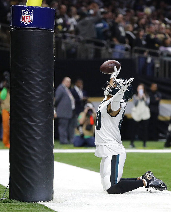 Philadelphia Eagles wide receiver Jordan Matthews (80) reacts to a touchdown against the New Orleans Saints in the first half of an NFL divisional playoff football game in New Orleans, Sunday, Jan. 13, 2019. (AP Photo/Gerald Herbert)