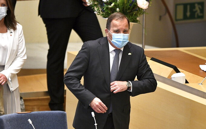 Sweden's Prime Minister Stefan Lofven before a confidence vote in the Swedish Parliament in Stockholm, Sweden, Monday June 21, 2021. Sweden's Prime Minister Stefan Lofven faces a no-confidence vote in the Riksdag parliament, after the Left Party said this week that it had lost confidence in Lofven and his center-left minority government. (Anders Wiklund / TT via AP)