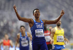 Donavan Brazier, of the U.S. wins the gold in the men's 800 meter final at the World Athletics Championships in Doha, Qatar, Tuesday, Oct. 1, 2019. (AP Photo/Petr David Josek)