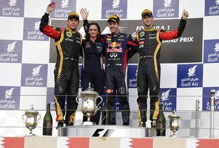 Sebastian Vettel, Kimi Raikkonen, Romain Grosjean of France,