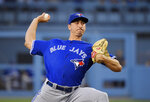 Toronto Blue Jays starting pitcher Jacob Waguespack throws during the first inning of the team's baseball game against the Los Angeles Dodgers on Thursday, Aug. 22, 2019, in Los Angeles. (AP Photo/Mark J. Terrill)