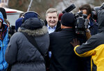 Republican Rick Saccone, center, is surrounded by cameras and reporters as he heads to the polling place to cast his ballot, Tuesday, March 13, 2018, in McKeesport, Pa. Saccone is running against Democrat Conor Lamb in a special election being held for the PA 18th Congressional District vacated by Republican Tim Murphy. (AP Photo/Keith Srakocic)