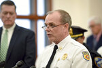 Worcester, Mass. Fire Chief Michael J. Lavoie speaks during a news conference where Worcester District Attorney Joseph D. Early Jr. announced an arrest in the death of Firefighter Christopher Roy Friday March 15, 2019. (Ashley Green/Worcester Telegram & Gazette via AP)