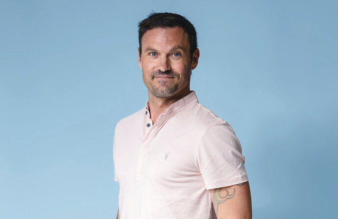 Brian Austin Green poses for a portrait at The Associated Press on Tuesday, Aug. 13, 2019, in New York City. Green says if Tori Spelling and Jennie Garth, along with the other creators of