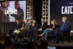 Grant Heslov, from left, George Clooney, Christopher Abbott, Kyle Chandler, Ellen Kuras and Luke Davies participate in the