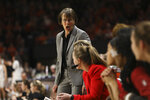 Stanford's head coach Tara Vanderveer calls instructions to the team's bench during the first half of an NCAA college basketball game against Oregon State in Corvallis, Ore., Sunday, Jan. 19, 2020. (AP Photo/Amanda Loman)