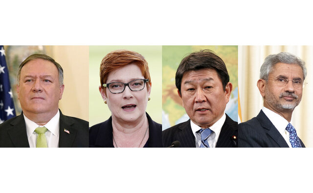 "In this combination image shows left to right; U.S. Secretary of State Mike Pompeo, Sept. 21, 2020, Australian Foreign Minister Marise Payne, May 18, 2020, Japan's Foreign Minister Toshimitsu Motegi, Jan. 17, 2020, and Indian Foreign Minister Subrahmanyam Jaishankar, Aug. 28, 2019. All for of these top diplomats from the U.S., Australia and India will gather in Tokyo next week for ""quad"" talks to discuss their common regional concerns, including China's increasingly assertive actions, in a first face-to-face meeting Japan hosts since the pandemic. (AP photo)"