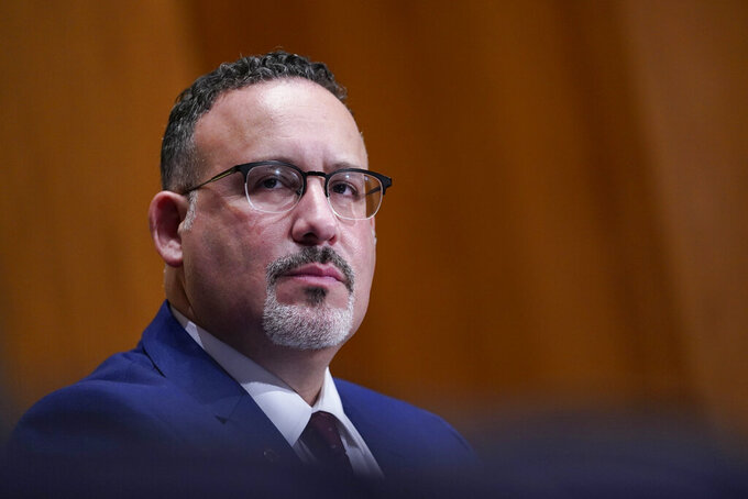 Education Secretary nominee Miguel Cardona testifies before the Senate Health, Education, Labor and Pensions committee during his confirmation hearing on Capitol Hill in Washington, Wednesday, Feb. 3, 2021. (AP Photo/Susan Walsh, Pool)