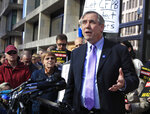 FILE - In this Nov. 28, 2017, file photo, Sen. Jeff Merkley, D-Ore., speaks at a rally in Washington. Merkley, while trying to gain access to a federal facility housing immigrant children in Texas near the Mexico border and talk to a supervisor was turned away after police were summoned. (AP Photo/Manuel Balce Ceneta, File)