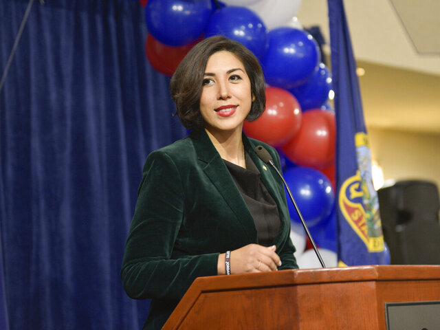 FILE- In this Tuesday, Nov. 6, 2018, file photo then Democratic gubernatorial candidate Paulette Jordan addresses supporters at an election night party in Boise, Idaho. Jordan has announced she's challenging Republican U.S. Sen. Jim Risch. Jordan announced Friday, Feb. 7, 2020, she plans to run against the two-term senator. Jordan in 2018 became the first woman to become the Democratic gubernatorial nominee in Idaho but lost in the general election to Republican Gov. Brad Little. (AP Photo/Diane Loos, File)
