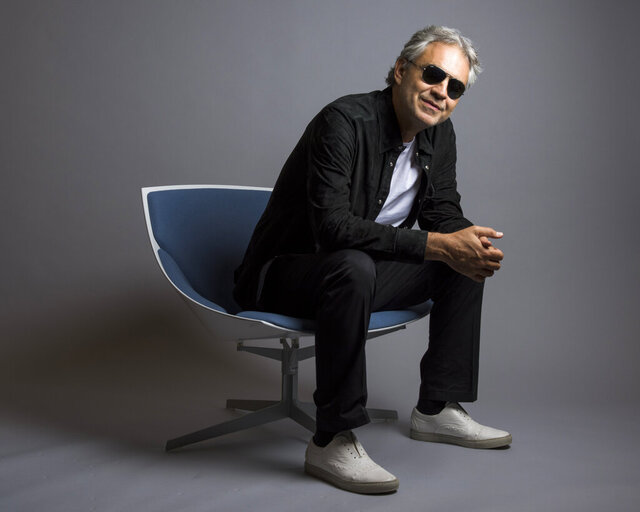 FILE - In this Oct. 29, 2015 file photo, Andrea Bocelli poses for a portrait in New York. Bocelli has released an album,