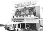 In this undated black and white photo released by Scala Movie Theater, the Scala theater marquee shows