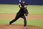 Philadelphia Phillies starting pitcher Zach Eflin throws during the first inning of a baseball game against the Miami Marlins, Saturday, Aug. 24, 2019, in Miami. (AP Photo/Lynne Sladky)