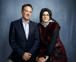 FILE - Director Bryan Fogel, left, and  Hatice Cengiz pose for a portrait to promote