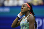Coco Gauff, of the United States, reacts during a match against Naomi Osaka, of Japan, during the third round of the U.S. Open tennis tournament Saturday, Aug. 31, 2019, in New York. (AP Photo/Adam Hunger)