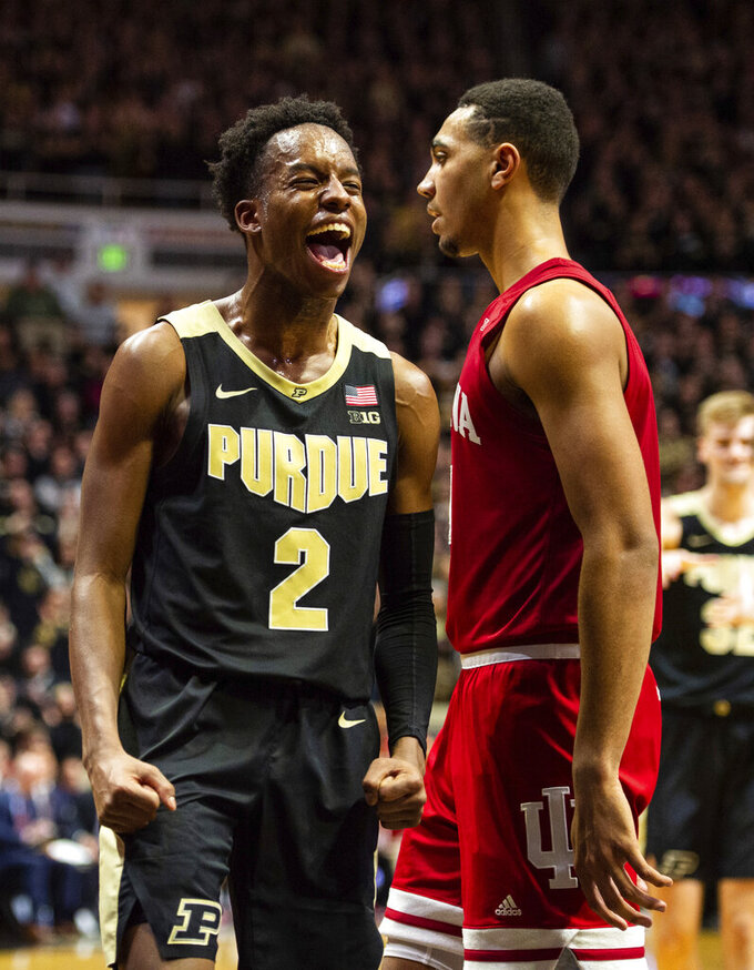 Purdue guard Eric Hunter Jr. (2) reacts during the second half of an NCAA college basketball game against Indiana, Thursday, Feb. 27, 2020, in West Lafayette, Ind. (AP Photo/Doug McSchooler)