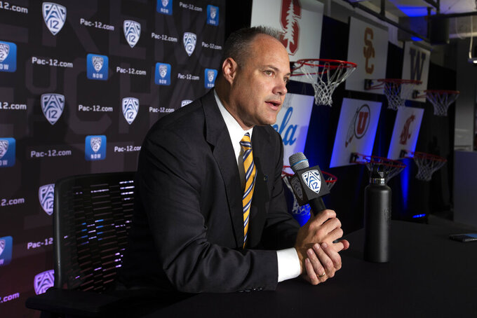 California head coach Mark Fox speaks during the Pac-12 NCAA college basketball media day Tuesday, Oct. 8, 2019 in San Francisco. (AP Photo/D. Ross Cameron)