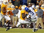 Kentucky quarterback Terry Wilson (3) is sacked by Tennessee linebacker Darrell Taylor (19) in the second half of an NCAA college football game Saturday, Nov. 10, 2018, in Knoxville, Tenn. Tennessee won 24-7. (AP Photo/Wade Payne)