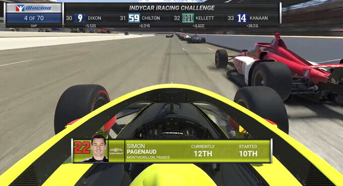 This image taken from video provided by iRacing IndyCar, shows the view of driver Simon Pagenaud during the First Responder 175 presented by GMR virtual IndyCar auto race at the Indianapolis Motor Speedway, Saturday, May 2, 2020, in Indianapolis, Ind. (iRacing IndyCar via AP)