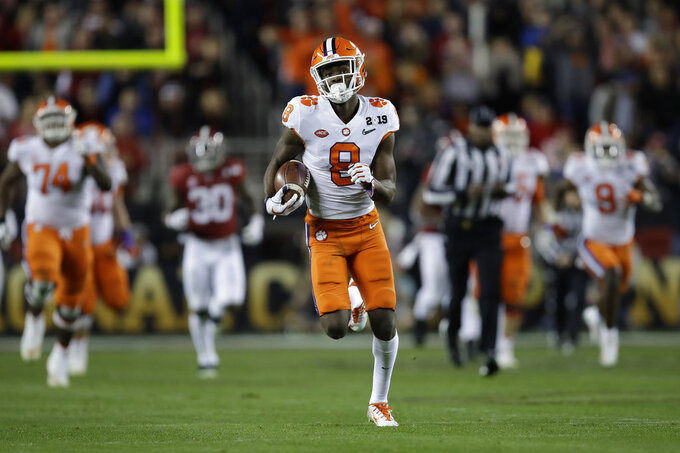 Clemson's Justyn Ross catches a touchdown pass during the second half of the NCAA college football playoff championship game against Alabama, Monday, Jan. 7, 2019, in Santa Clara, Calif. (AP Photo/Ben Margot)
