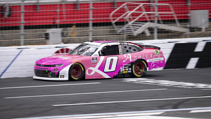 NASCAR Xfinity Series driver Jeffrey Earnhardt (0) races during the NASCAR Xfinity auto racing race at the Charlotte Motor Speedway Sunday, Oct. 10, 2021, in Concord, N.C. (AP Photo/Matt Kelley)