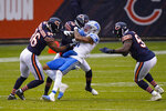 Detroit Lions wide receiver Marvin Jones (11) makes catch in front of Chicago Bears defensive back DeAndre Houston-Carson (36) in the first half of an NFL football game in Chicago, Sunday, Dec. 6, 2020. (AP Photo/Nam Y. Huh)