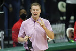 Nebraska head coach Fred Hoiberg gives instructions against Michigan State in the first half of an NCAA college basketball game in East Lansing, Mich., Saturday, Feb. 6, 2021. (AP Photo/Paul Sancya)