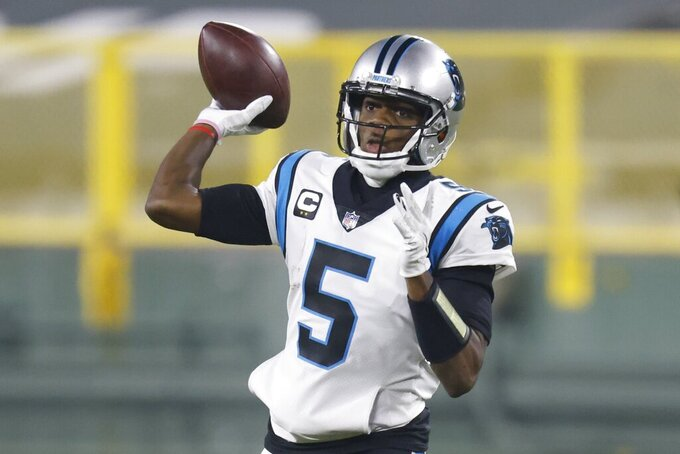 Carolina Panthers' Teddy Bridgewater throws a pass during the second half of an NFL football game against the Green Bay Packers Saturday, Dec. 19, 2020, in Green Bay, Wis. (AP Photo/Matt Ludtke)