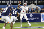 South Alabama quarterback Desmond Trotter throws a pass during the first half of the team's NCAA college football game against Georgia Southern on Thursday, Oct. 29, 2020, in Statesboro, Ga. (AP Photo/Gary McCullough)