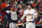 Houston Astros' Alex Bregman reacts after striking out during the ninth inning of Game 1 of the baseball World Series against the Washington Nationals Tuesday, Oct. 22, 2019, in Houston. (AP Photo/David J. Phillip)