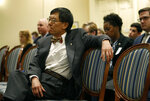 University of Maryland president Wallace Loh waits to speak at a House of Delegates appropriations committee hearing, Thursday, Nov. 15, 2018, in Annapolis, Md. The hearing was called to examine how the university and the University System of Maryland's Board of Regents responded to the death of football player Jordan McNair. (AP Photo/Patrick Semansky)