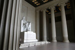 The Lincoln Memorial sits empty in Washington, Wednesday, March 25, 2020. Officials have urged Washington residents to stay home to contain the spread of the coronavirus. (AP Photo/Patrick Semansky)
