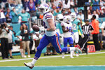 Buffalo Bills tight end Dawson Knox (88) runs for a touchdown, during the first half at an NFL football game against the Miami Dolphins, Sunday, Nov. 17, 2019, in Miami Gardens, Fla. (AP Photo/Lynne Sladky)