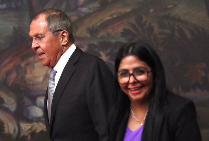 Venezuelan Vice President Delcy Rodriguez, right, and Russian Foreign Minister Sergei Lavrov during their meeting in Moscow, Russia, Aug. 21 2019. Delcy Rodriguez is on a working visit to Moscow. (Maxim Shipenkov/Pool Photo via AP)