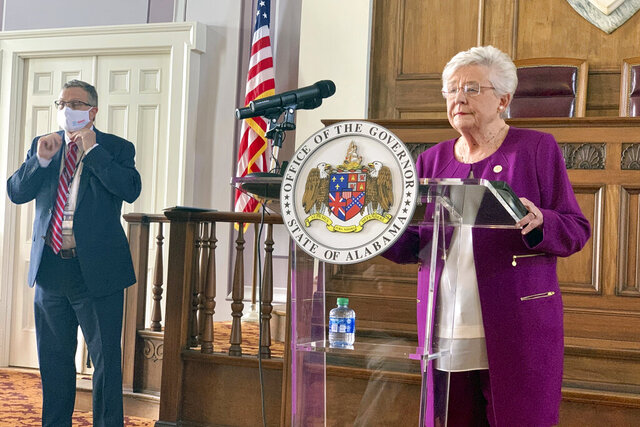 Alabama Gov Kay Ivey announces that a statewide mask order will be extended through Oct. 2, 2020 during a press conference at the Alabama Capitol in Montgomery, Ala., on Thursday, Aug. 27, 2020. Ivey said the state is seeing a drop in COVID-19 cases and that the requirement to wear masks will keep the numbers moving downward. (Kim Chandler/Associated Press)