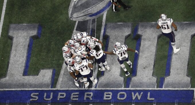 The New England Patriots celebrate a 41-yard field goal by Stephen Gostkowski against the Los Angeles Rams during the second half of the NFL Super Bowl 53 football game Sunday, Feb. 3, 2019, in Atlanta. The Patriots won 13-3. (AP Photo/Morry Gash)
