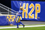 Pittsburgh Panthers wide receiver Jordan Addison (3) celebrates as he goes through the end zone after making a catch against North Carolina State in the first half of an NCAA college football game, Saturday, Oct. 3, 2020, in Pittsburgh. (AP Photo/Keith Srakocic)