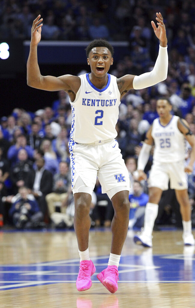 Kentucky's Ashton Hagans celebrates a basket during the first half of an NCAA college basketball game against Auburn in Lexington, Ky., Saturday, Feb. 23, 2019.(AP Photo/James Crisp)