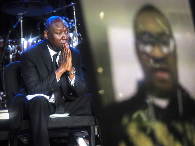 Civil rights attorney Ben Crump attends a memorial service for George Floyd at North Central University, on Thursday, June 4, 2020, in Minneapolis. Hollywood celebrities, musicians and political leaders gathered in front of the golden casket of George Floyd whose death at the hands of police sparked global protests. (AP Photo/Bebeto Matthews)
