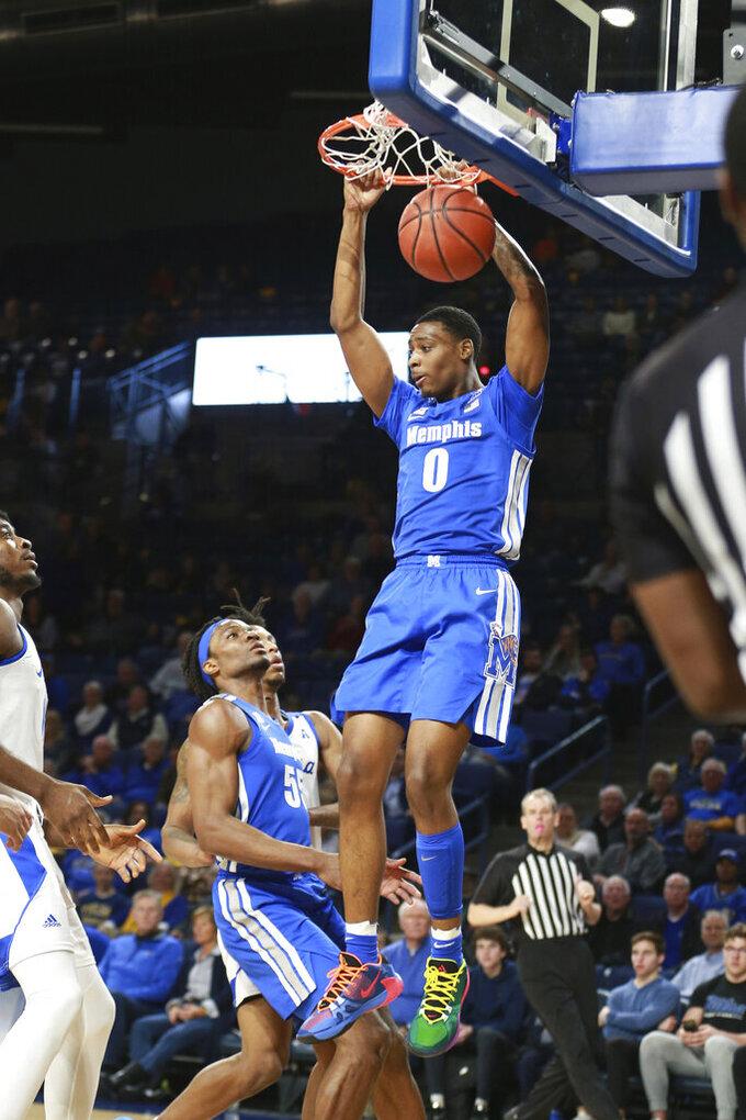 Memphis forward D.J. Jeffries (0) dunks in the first half of an NCAA college basketball game against Tulsa in Tulsa, Okla., Wednesday, Jan. 22, 2020. (AP Photo/Joey Johnson)
