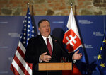 US Secretary of State Mike Pompeo addresses media during a press conference in Bratislava, Slovakia, Tuesday, Feb. 12, 2019. Pompeo is in Slovakia on the second leg of a five-nation European tour that began in Hungary and will take him to Poland, Belgium and Iceland. (AP Photo/Petr David Josek)