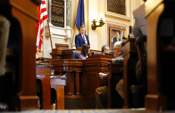 House Speaker, Del. Kirk Cox, R-Colonial Heights, presides over the House during the session at the Capitol in Richmond, Va., Wednesday, Jan. 23, 2019. A panel of federal judges has chosen a redistricting map for Virginia's House of Delegates that could shift some districts toward Democrats and help the party regain control in this year's election. (AP Photo/Steve Helber)