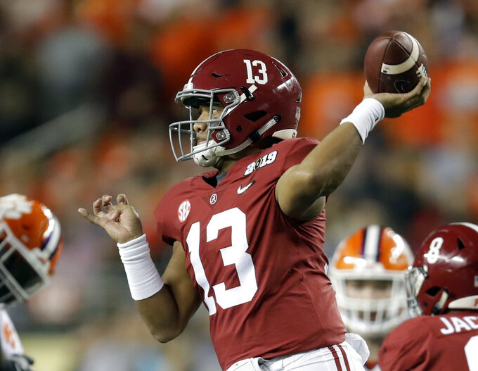 Alabama's Tua Tagovailoa throws during the first half the NCAA college football playoff championship game against Clemson, Monday, Jan. 7, 2019, in Santa Clara, Calif. (AP Photo/Ben Margot)